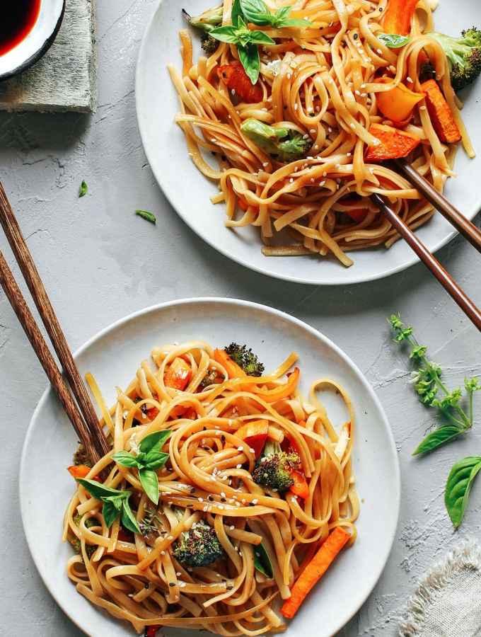 Instant Pot Sesame & Basil Noodles with Roasted Veggies