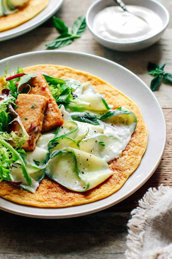 Creamy Cucumber Salad with Miso Tempeh