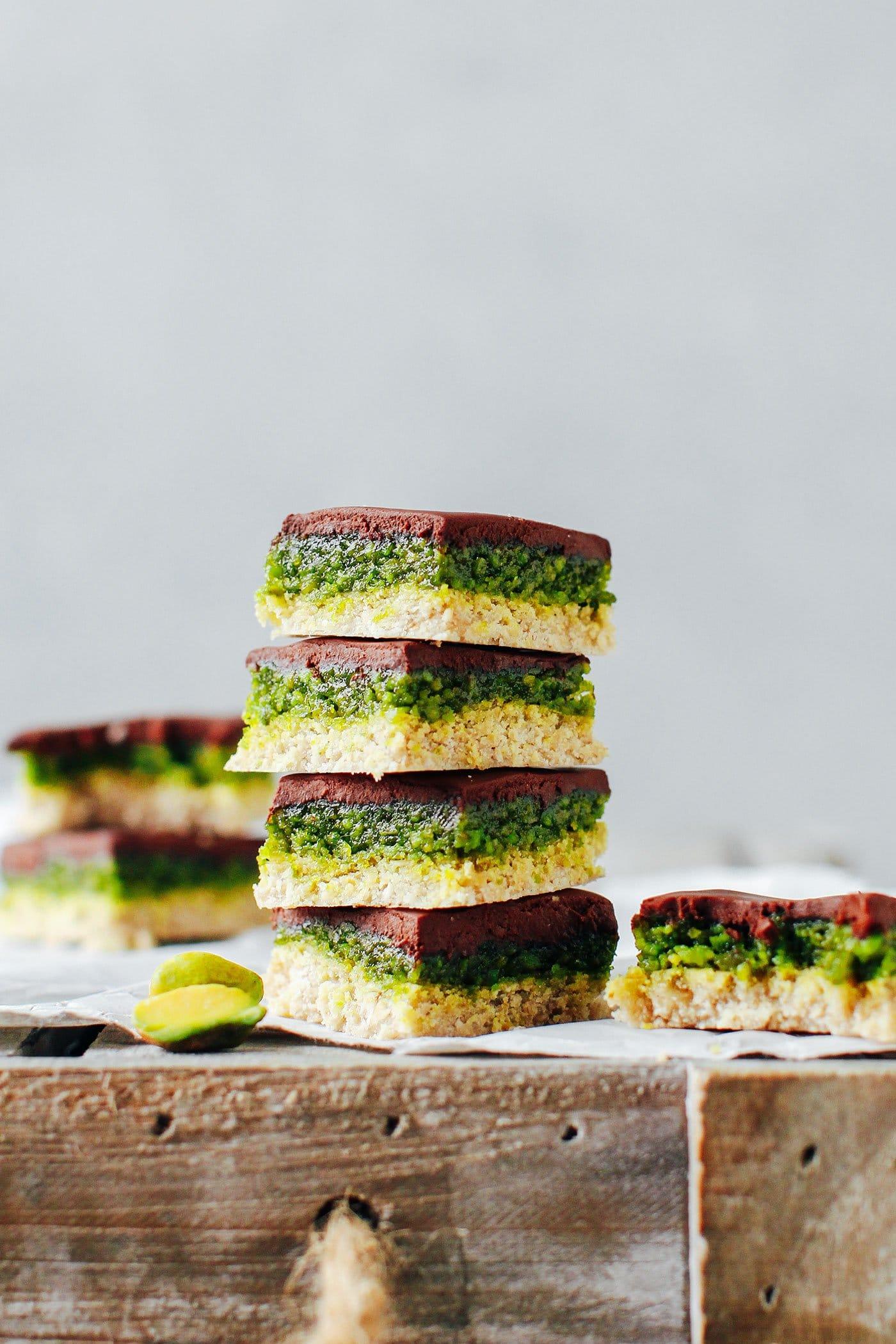No-Bake Chocolate Pistachio Bars (Vegan + GF)