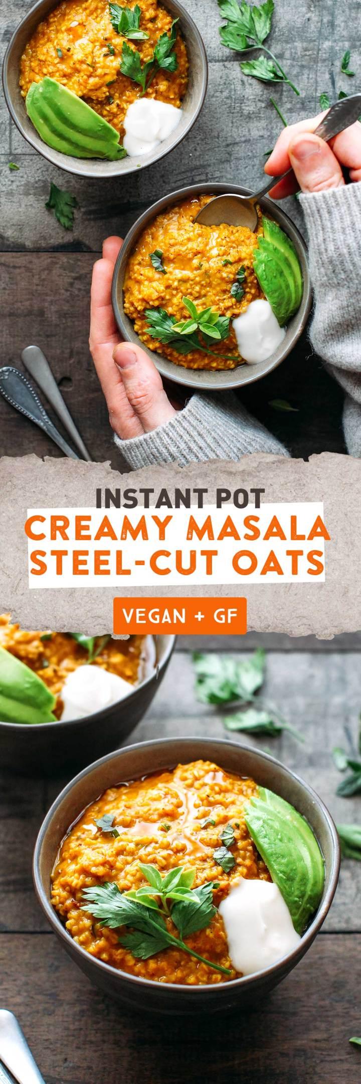 Instant Pot Creamy Masala Steel-Cut Oats