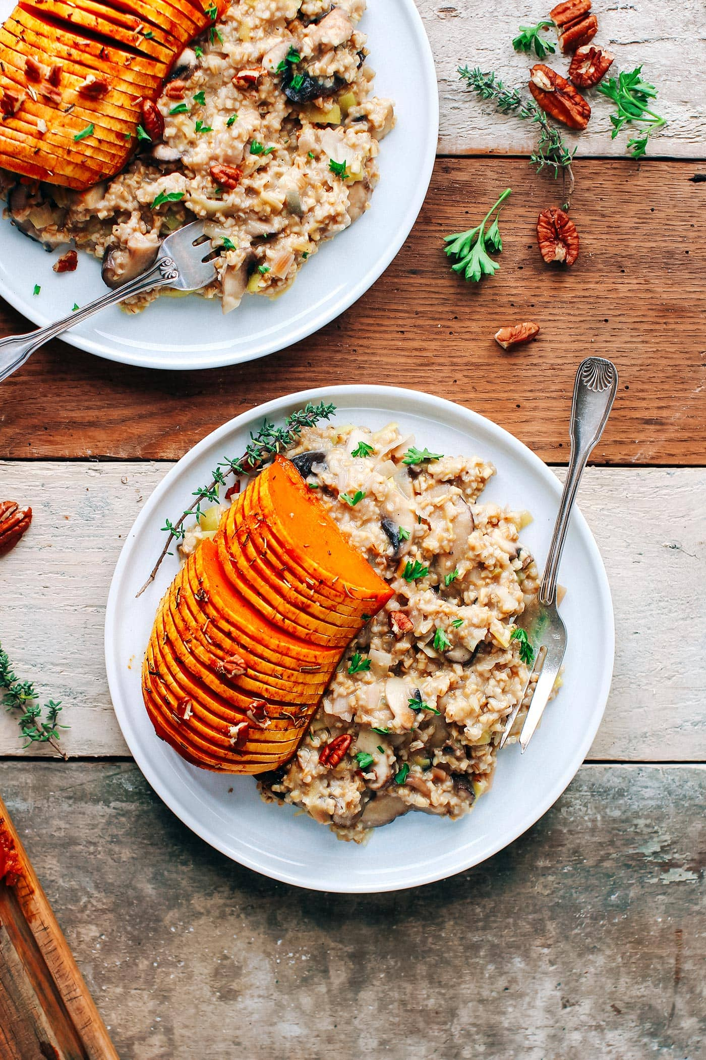 Hasselback Butternut Squash with Steel-Cut Oat Mushroom Risotto