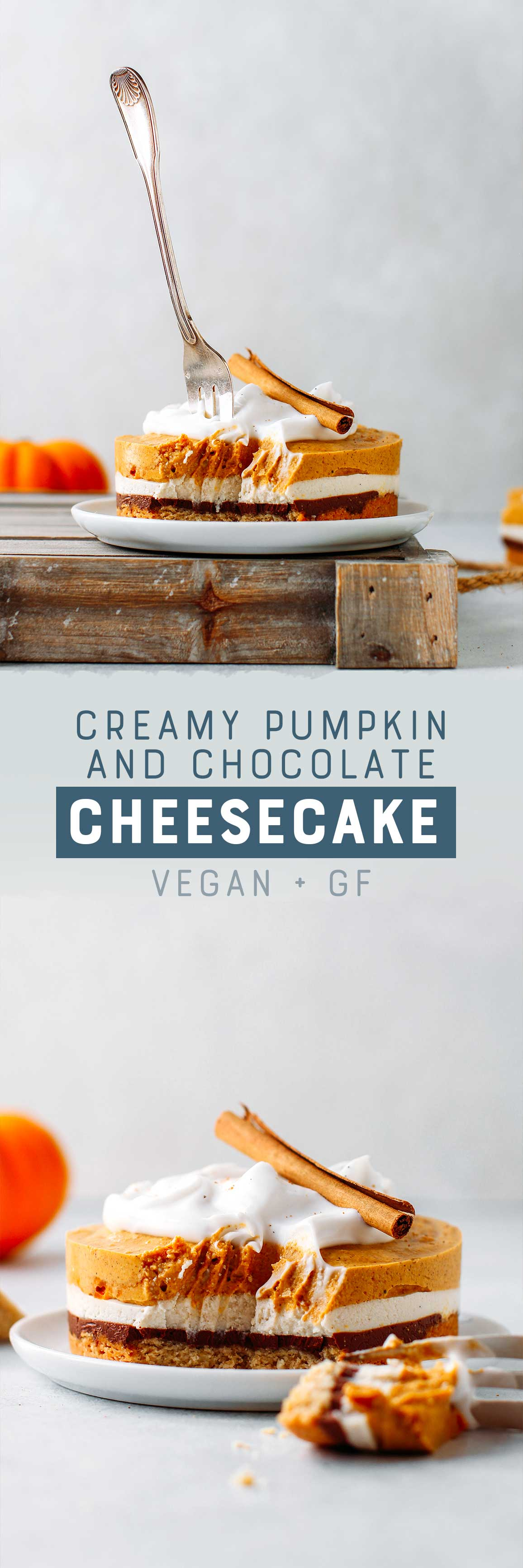 Creamy Pumpkin & Chocolate Cheesecake (Vegan + GF)