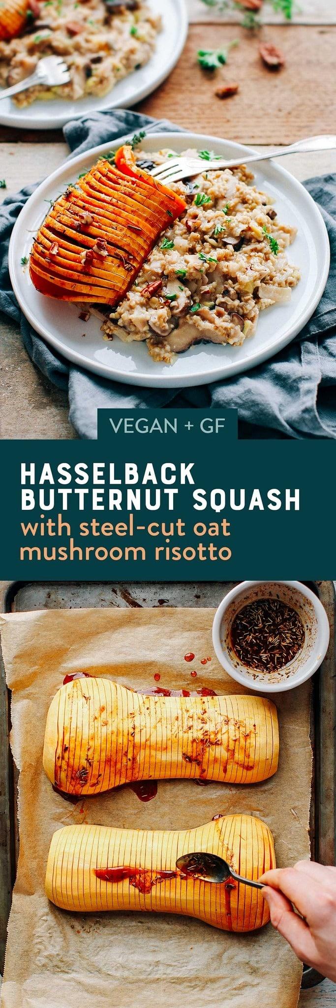 Hasselback Butternut Squash with Steel-Cut Oat Mushroom Risotto