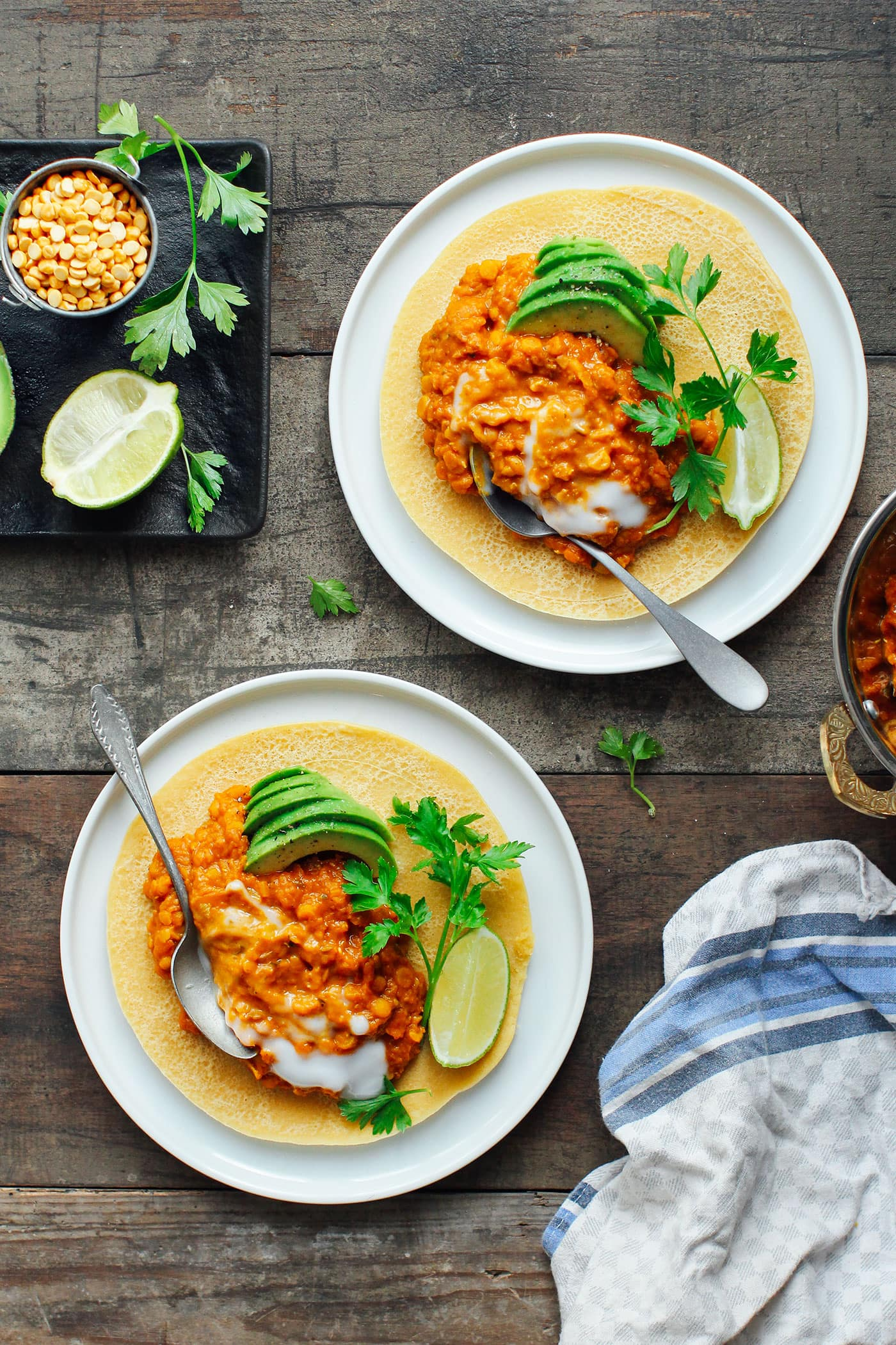 Chickpea Crepes with Creamy Lentil Dal (Vegan + GF!)