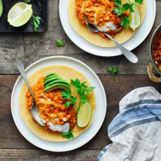 Chickpea Crepes with Creamy Lentil Dal