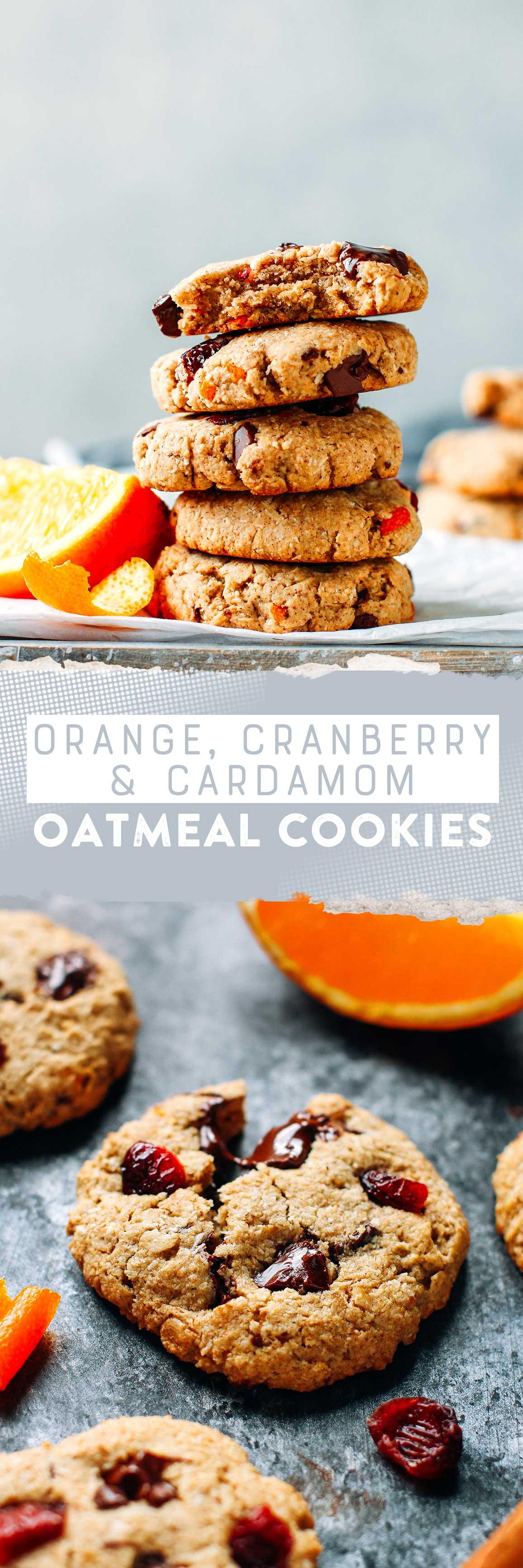 Orange, Cranberry & Cardamom Oatmeal Cookies