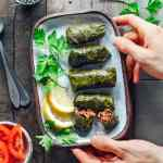 Spicy Vegan Stuffed Grape Leaves