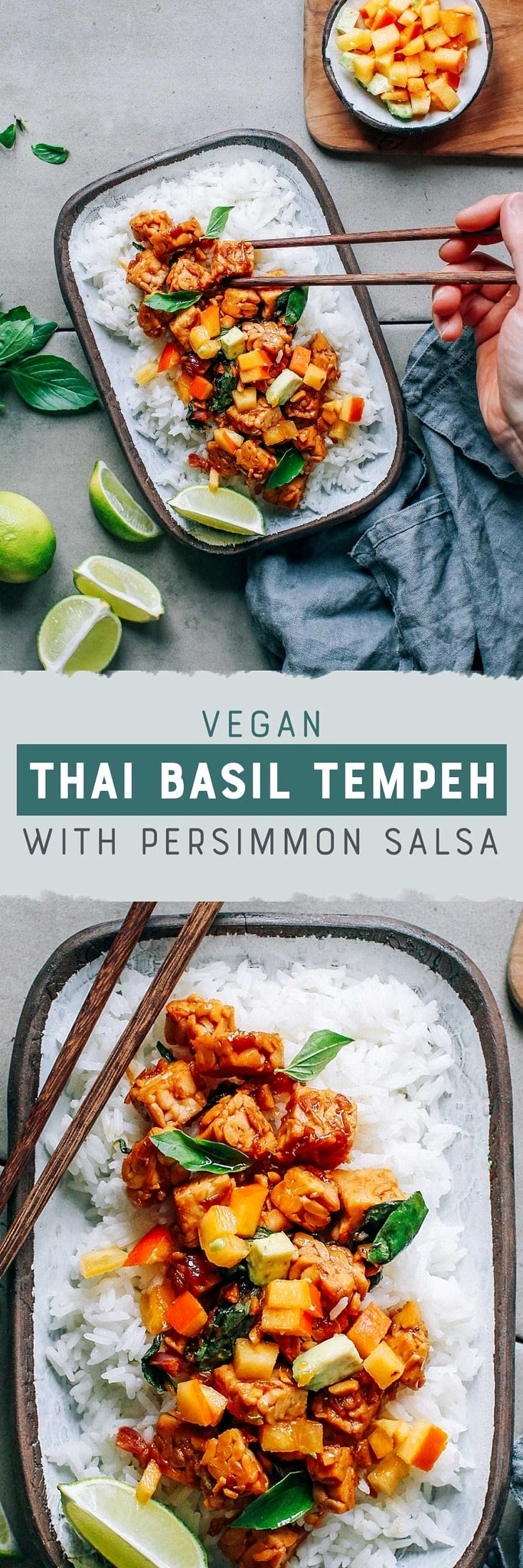 Thai Basil Tempeh with Persimmon Salsa
