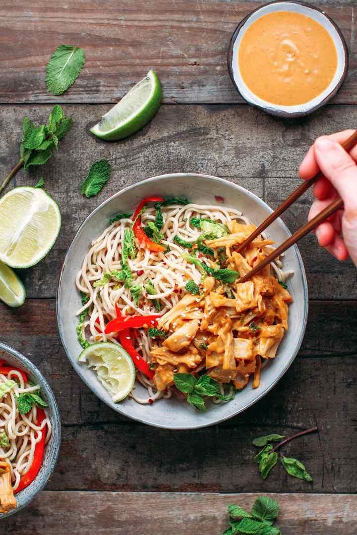 15 Minute Thai Peanut Jackfruit Noodles