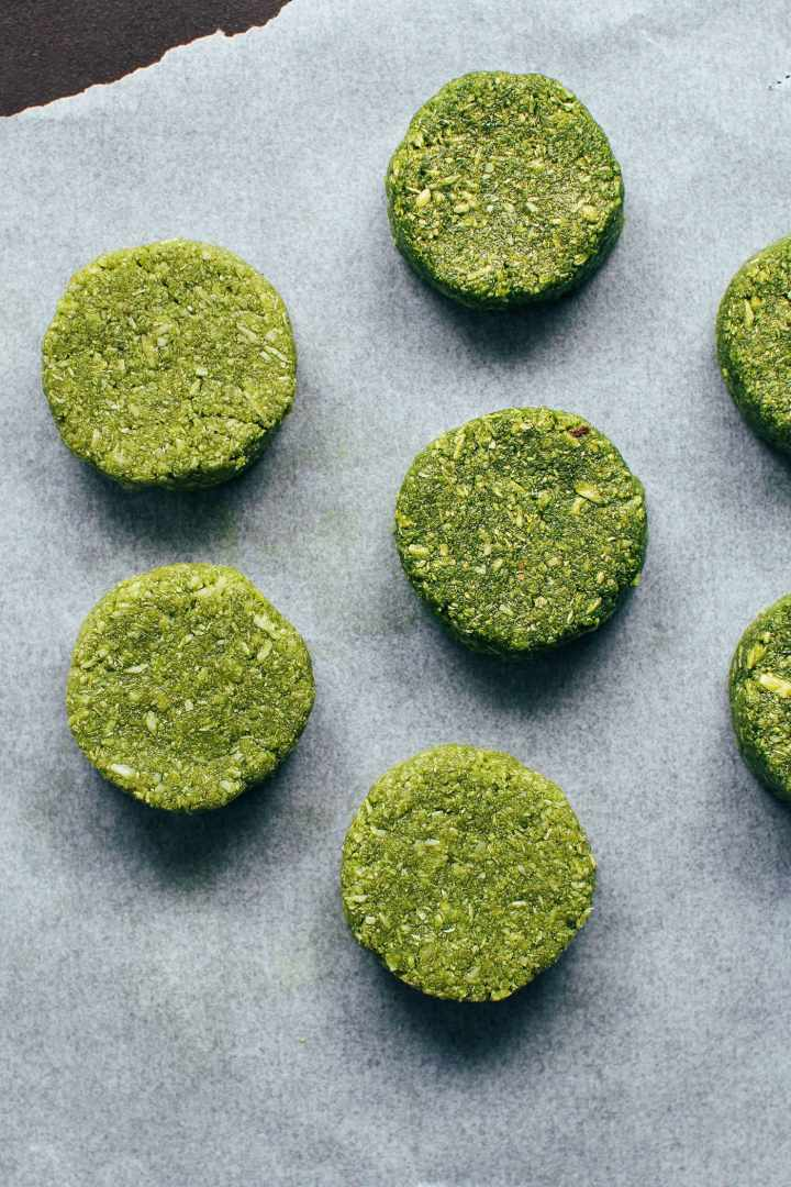 5-Ingredient Chewy Matcha Coconut Cookies