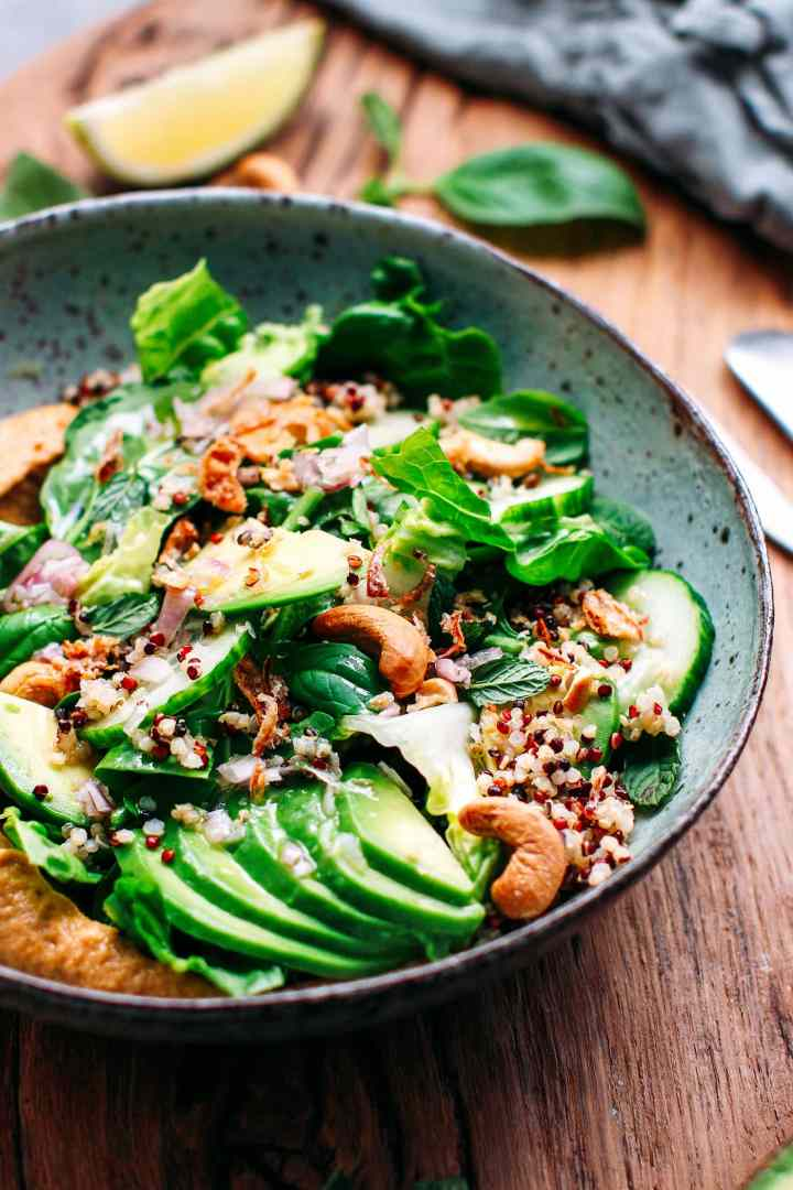 Quinoa Green Salad with Buffalo Eggplant