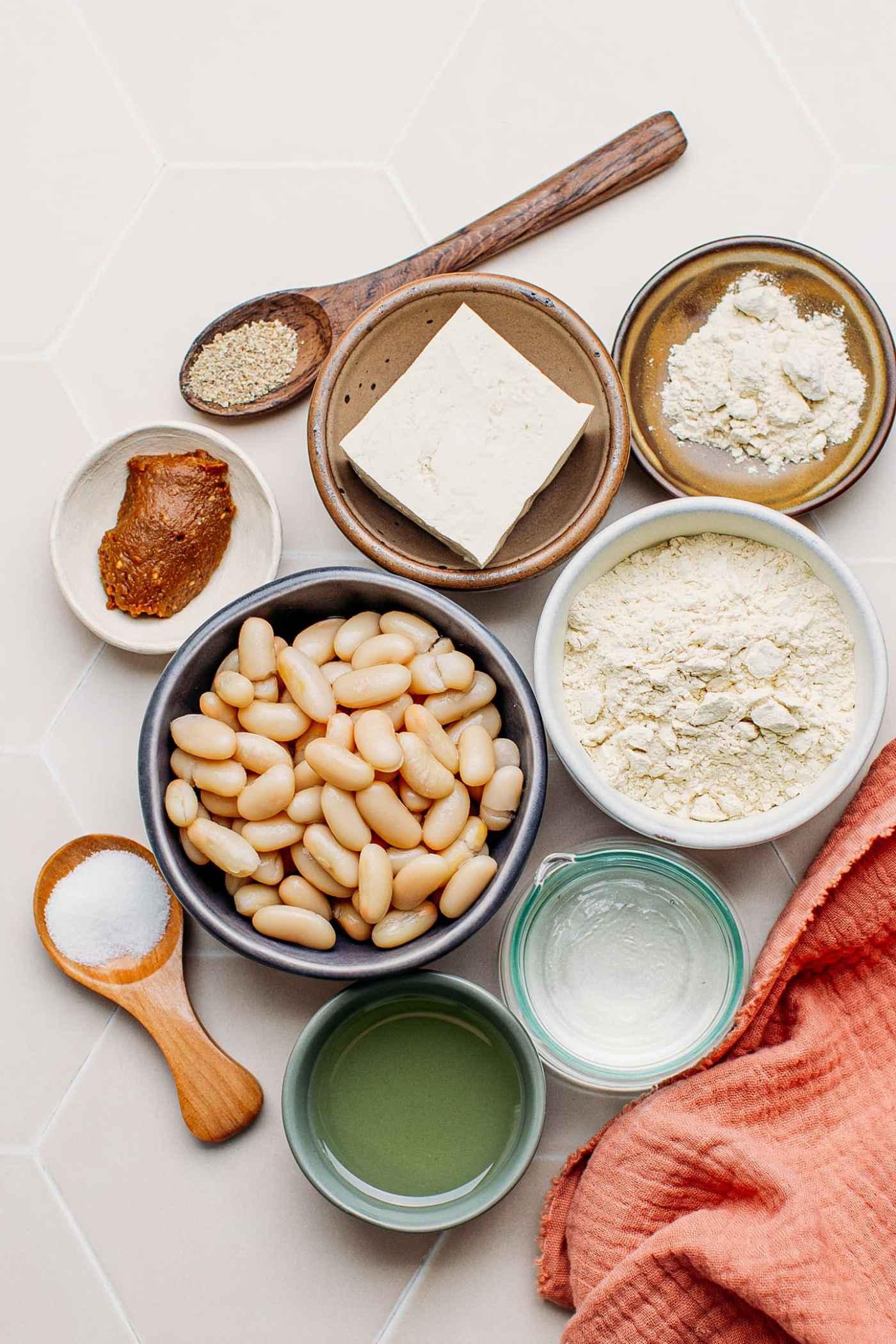 Ingredients to make vegan chicken, jackfruit, tofu, vital wheat gluten.