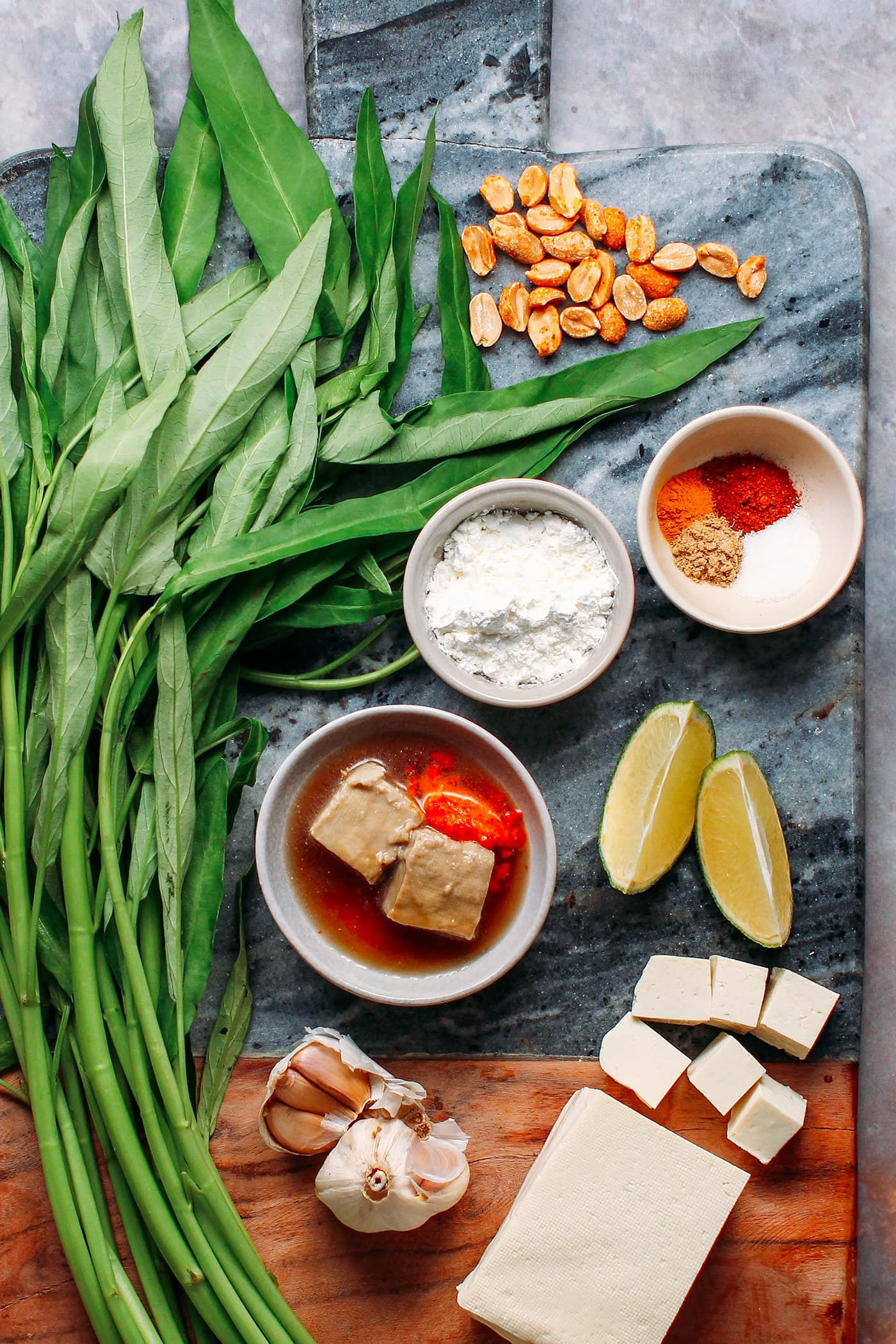 Garlic Morning Glory with Crispy Tofu