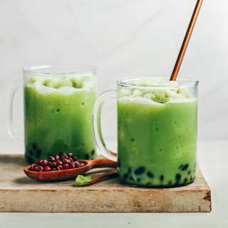 Vanilla Iced Matcha with Red Beans