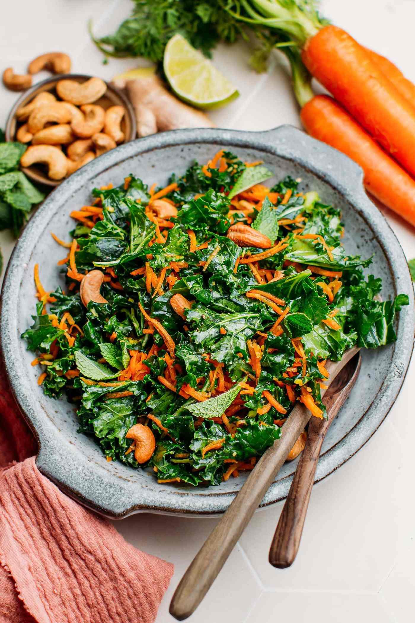 10-Minute Ginger Carrot & Kale Salad