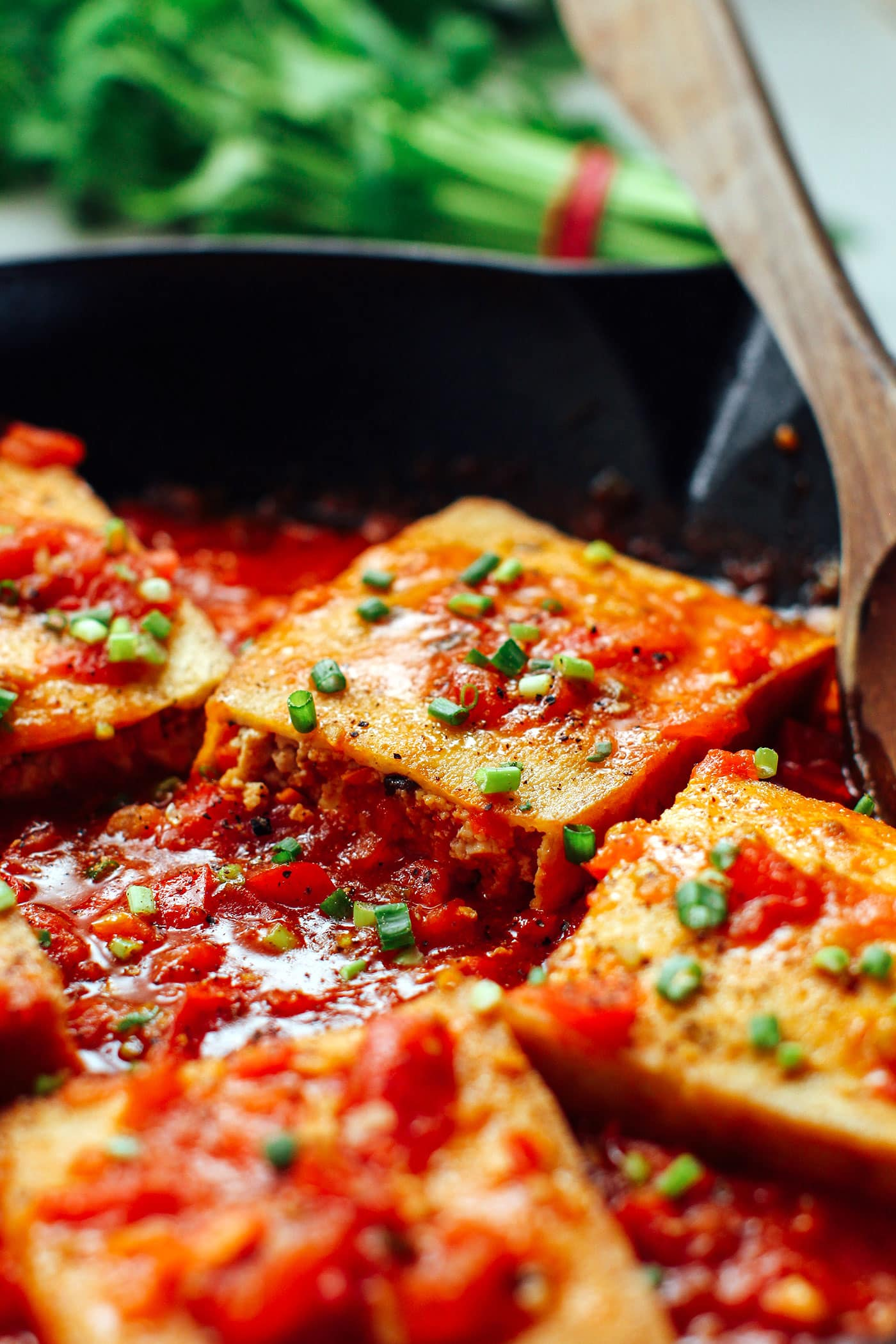 Stuffed Tofu in Tomato Sauce