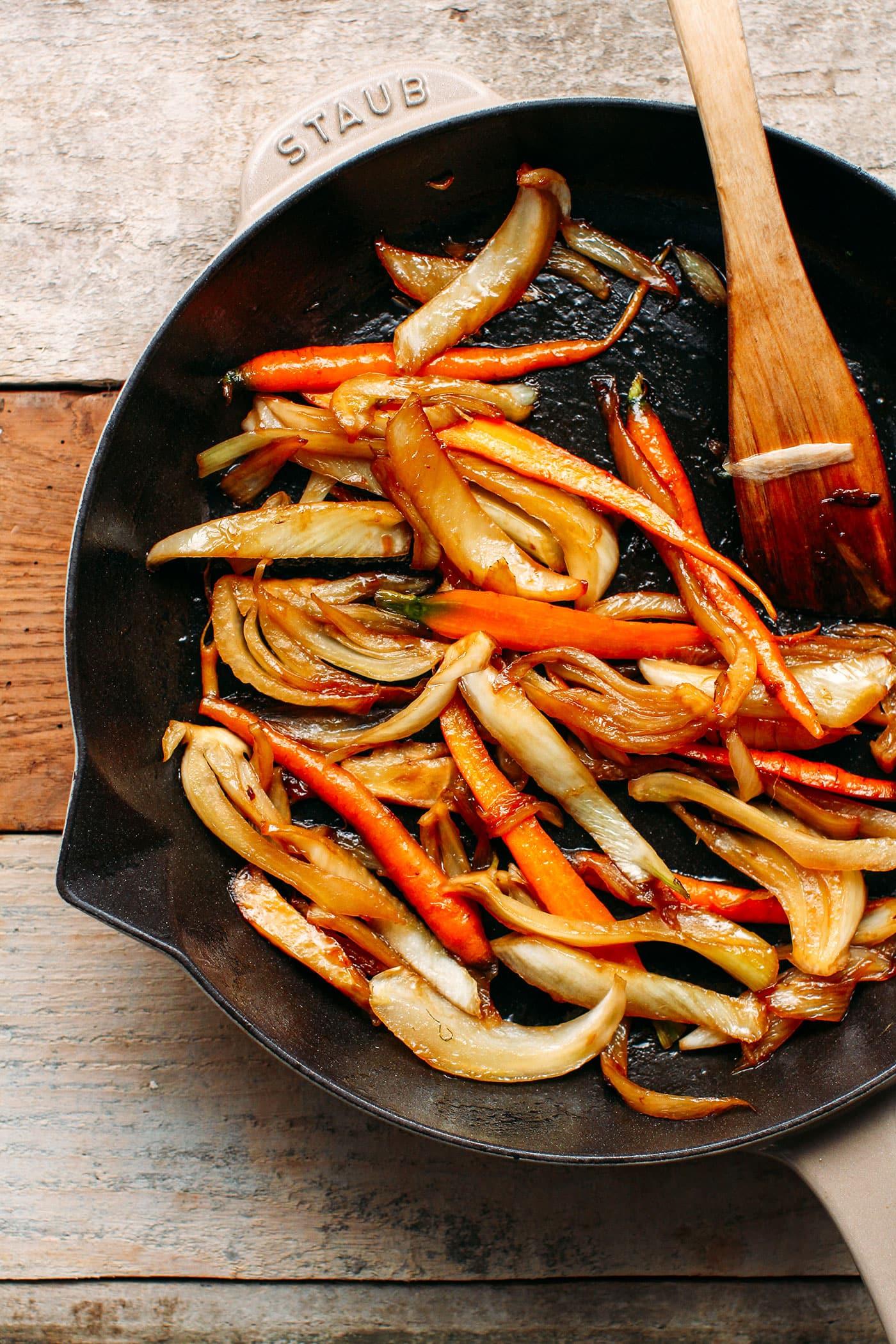 Braised Fennel & Carrot Arugula Salad