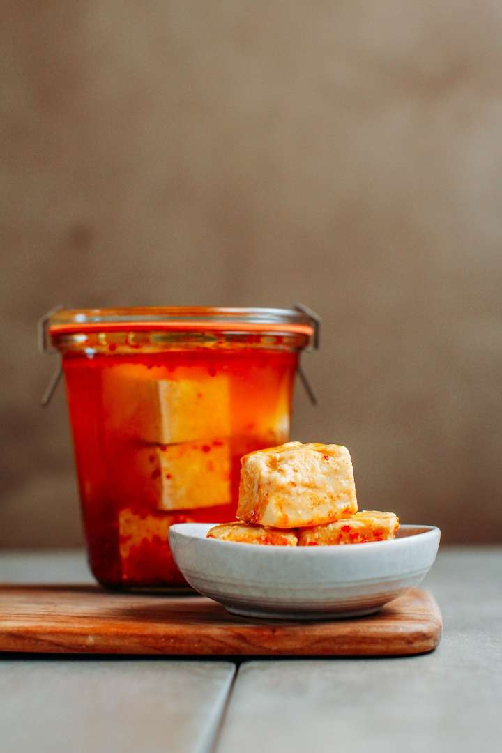 Fermented tofu cheese cubes, also called chao in a bowl.