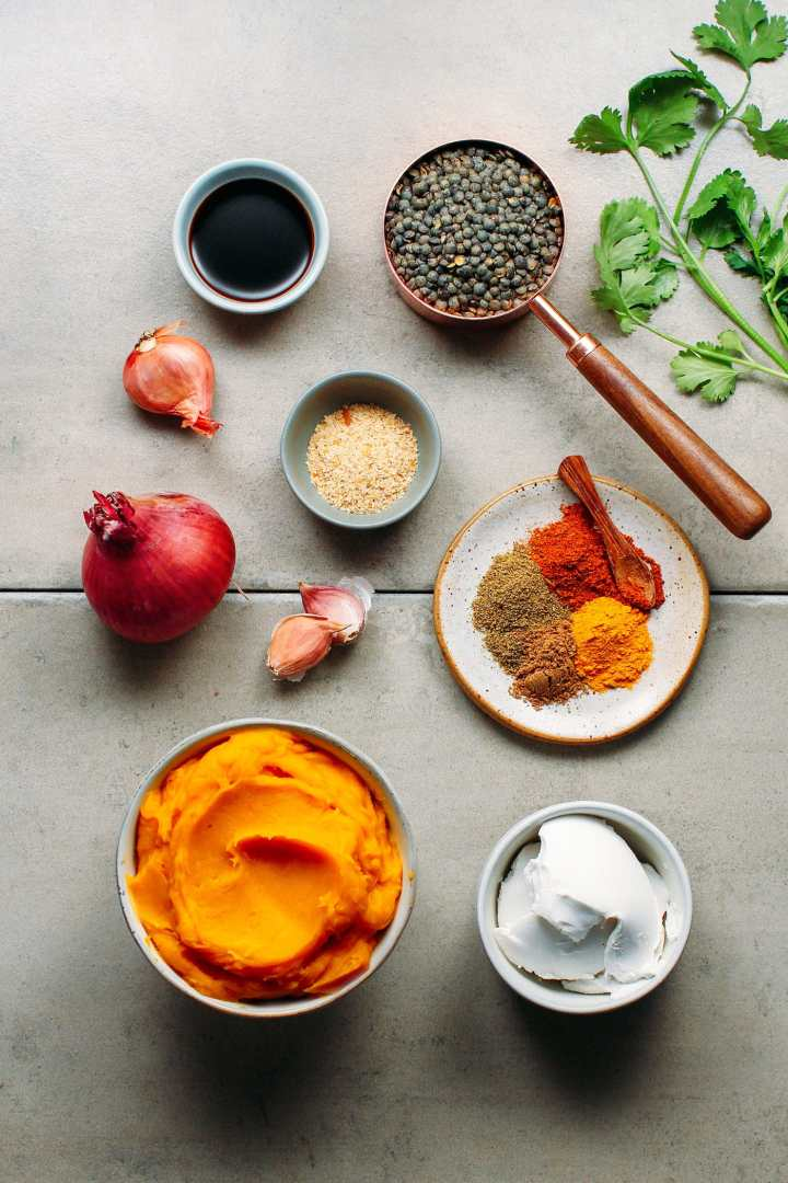 Curried Mashed Pumpkin with Spicy Green Lentils