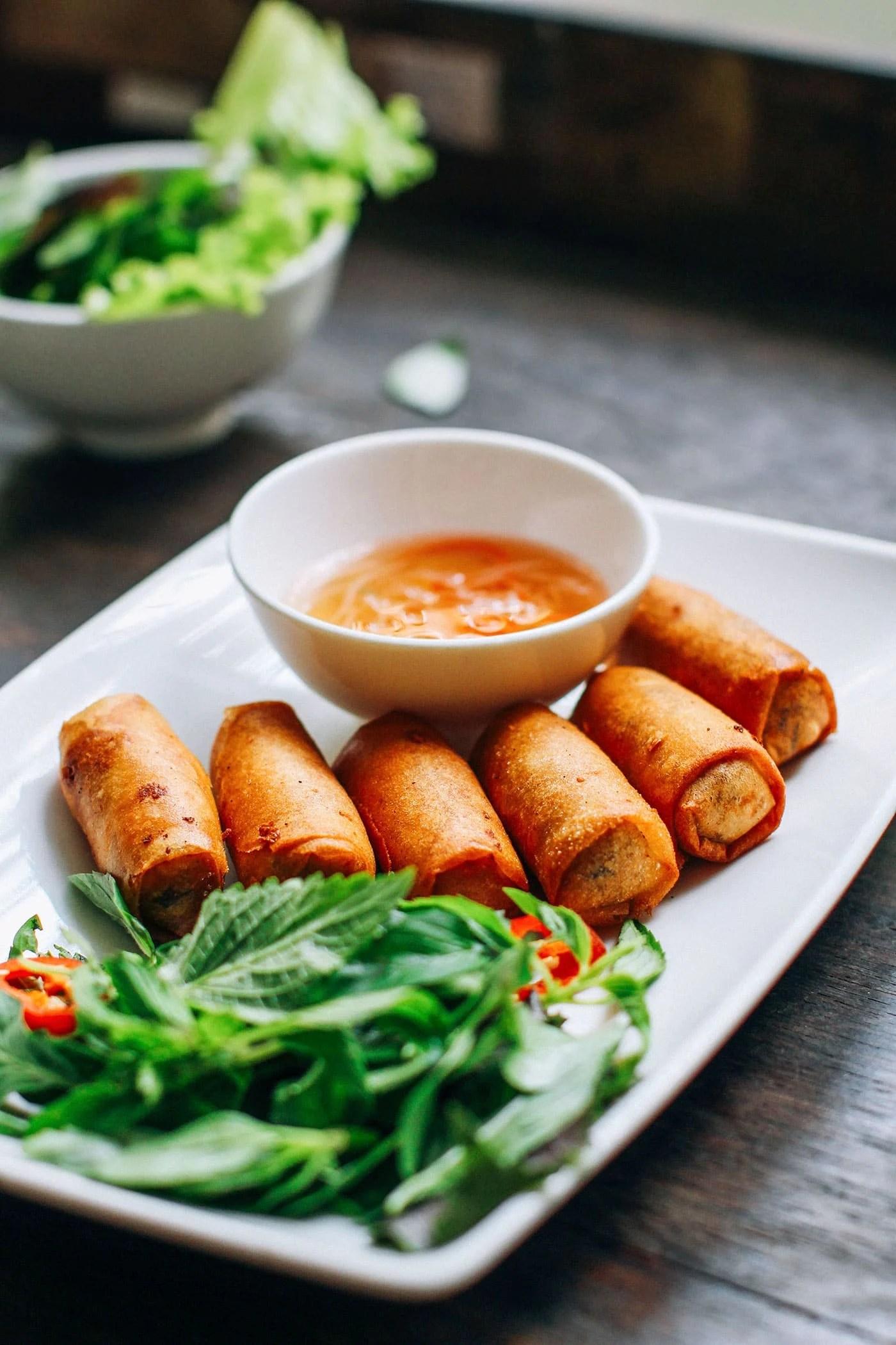 A Guide to Eating Vegan in Viet Nam - Nem Fried Spring Rolls