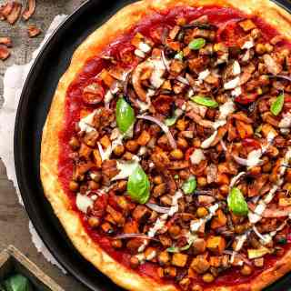 Curried Chickpea Pizza with Coconut Bacon