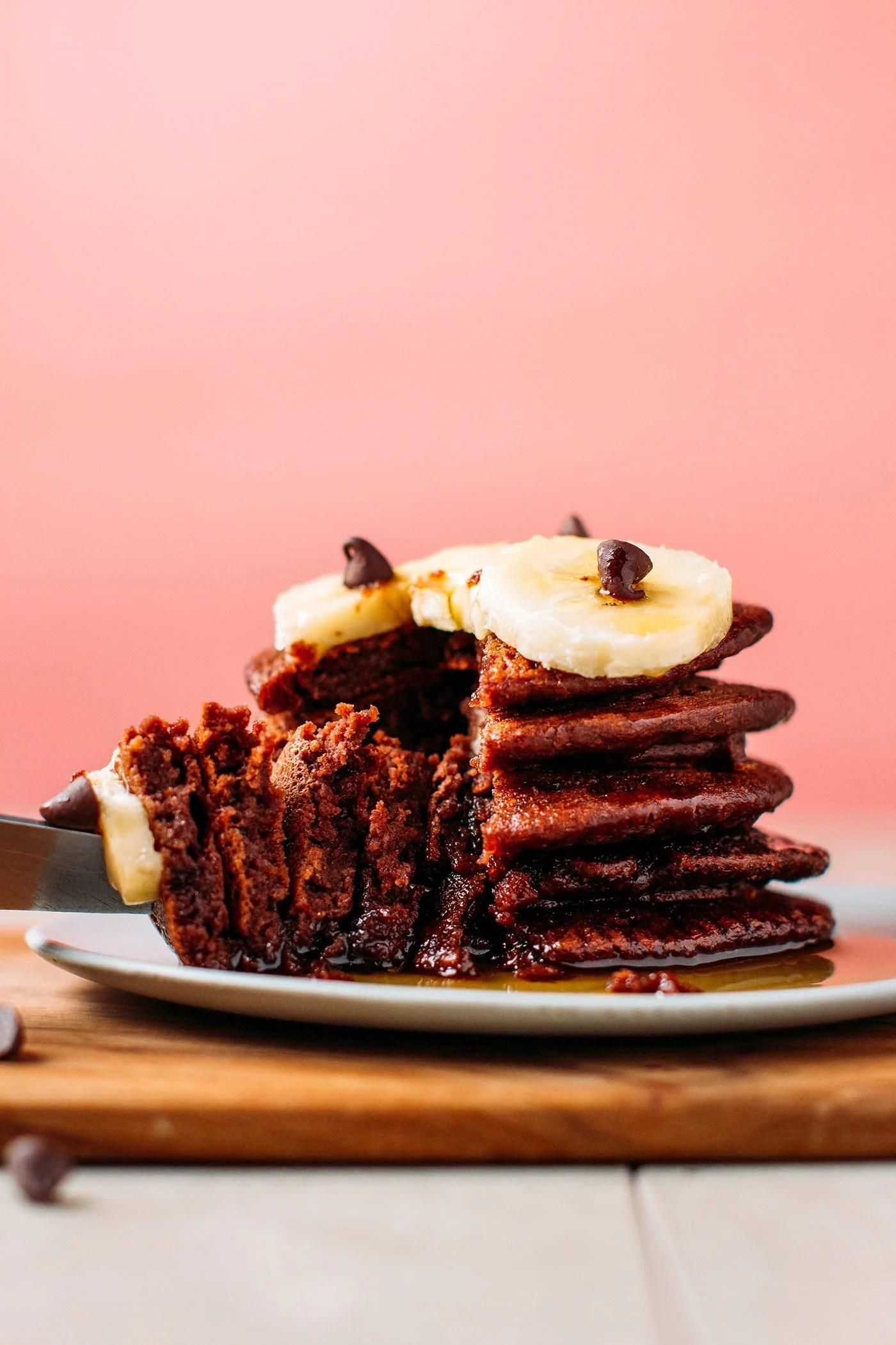 Chocolate Protein Pancakes (Vegan + GF + Sugar-Free)