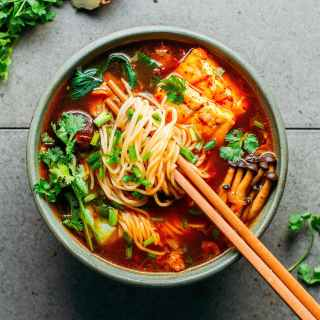 Vegan Kimchi Noodle Soup