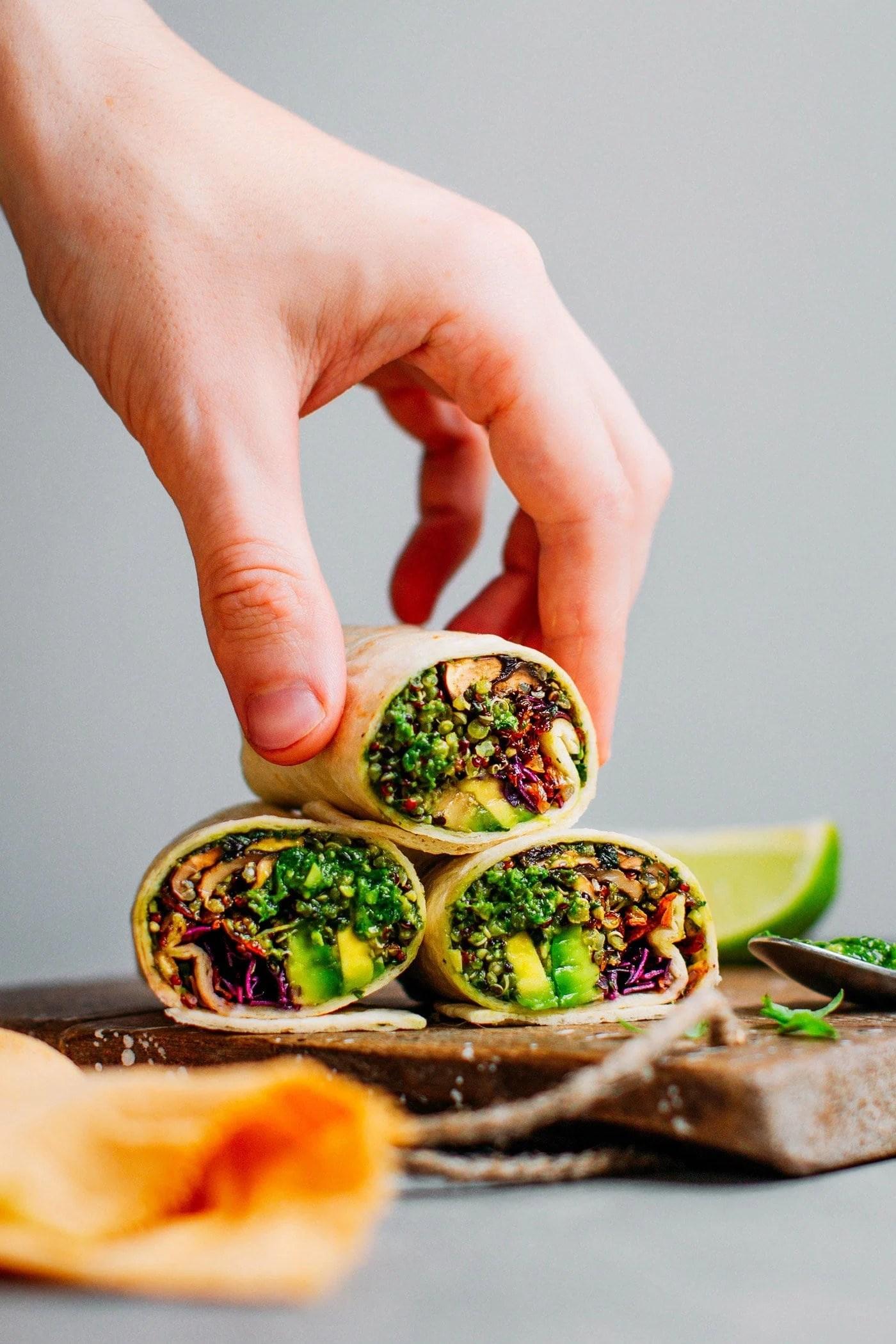Pesto Quinoa Burritos