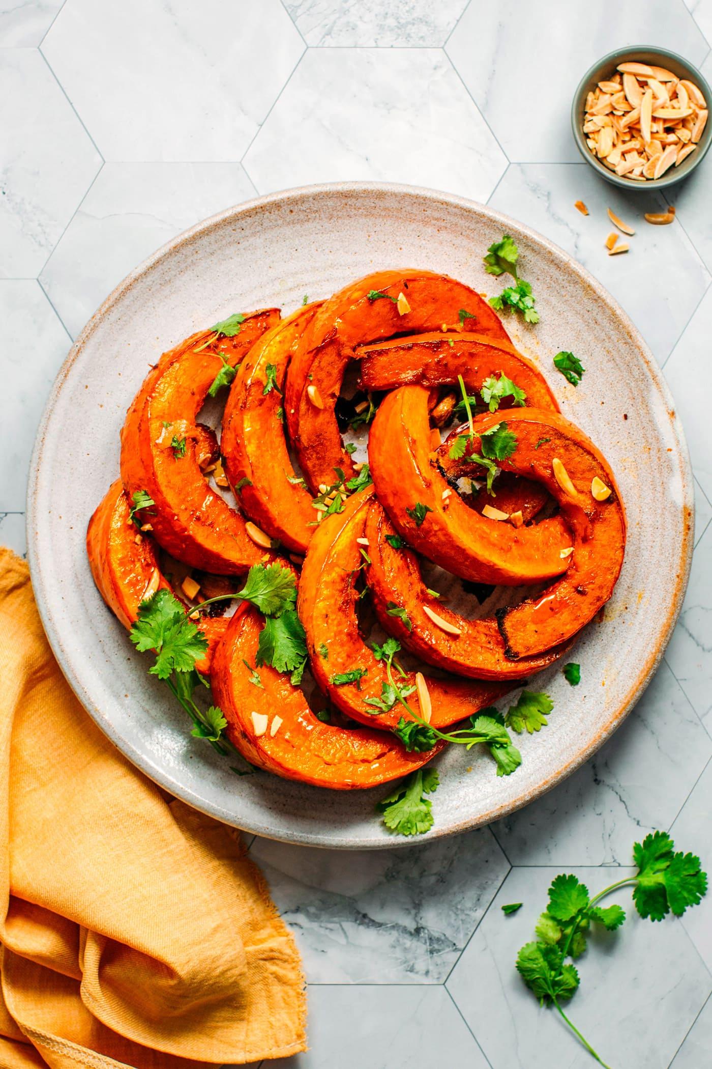 Smoky Garlic Roasted Pumpkin Wedges