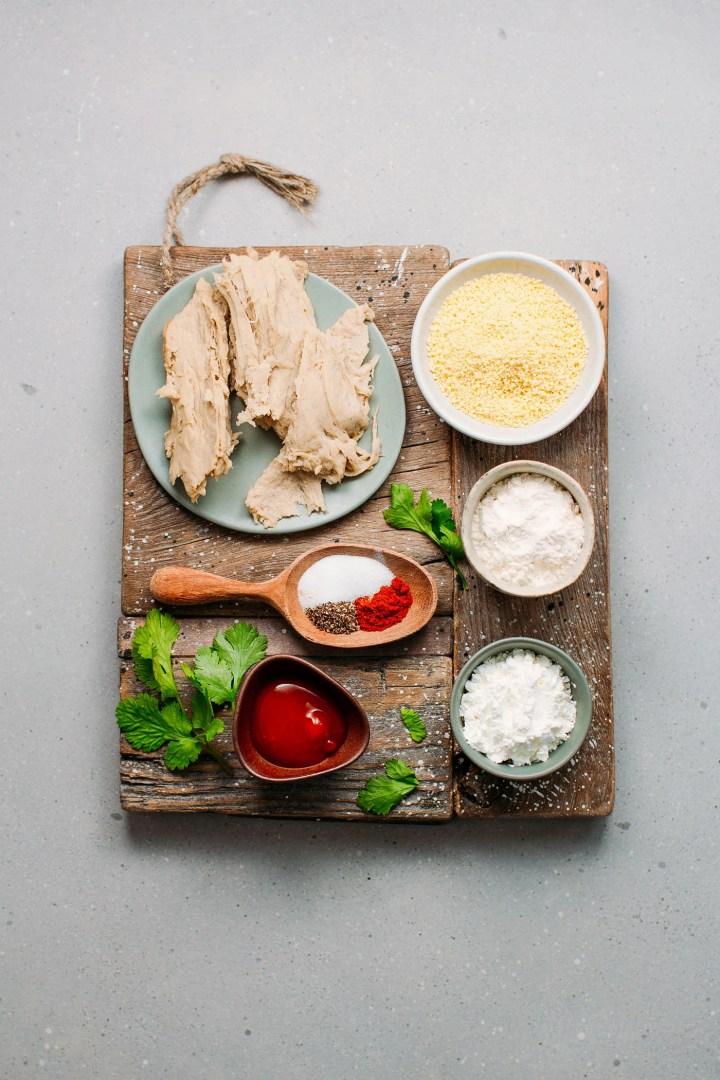 Ingredients to make vegan chicken nuggets, breadcrumbs, spices, cornstarch.