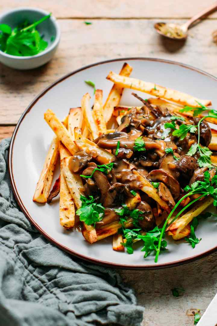 Baked Parsnip Fries with Mushroom Gravy