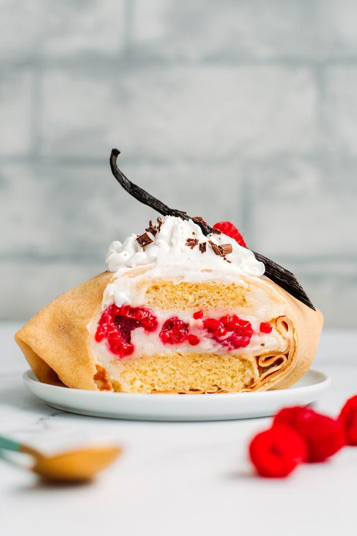 Vegan Courchevel (French Raspberry Crêpe Cake)