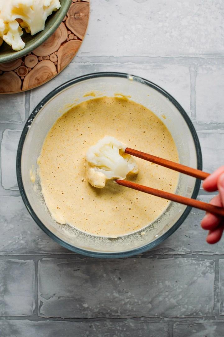 Cauliflower Tempura with Ginger Cream