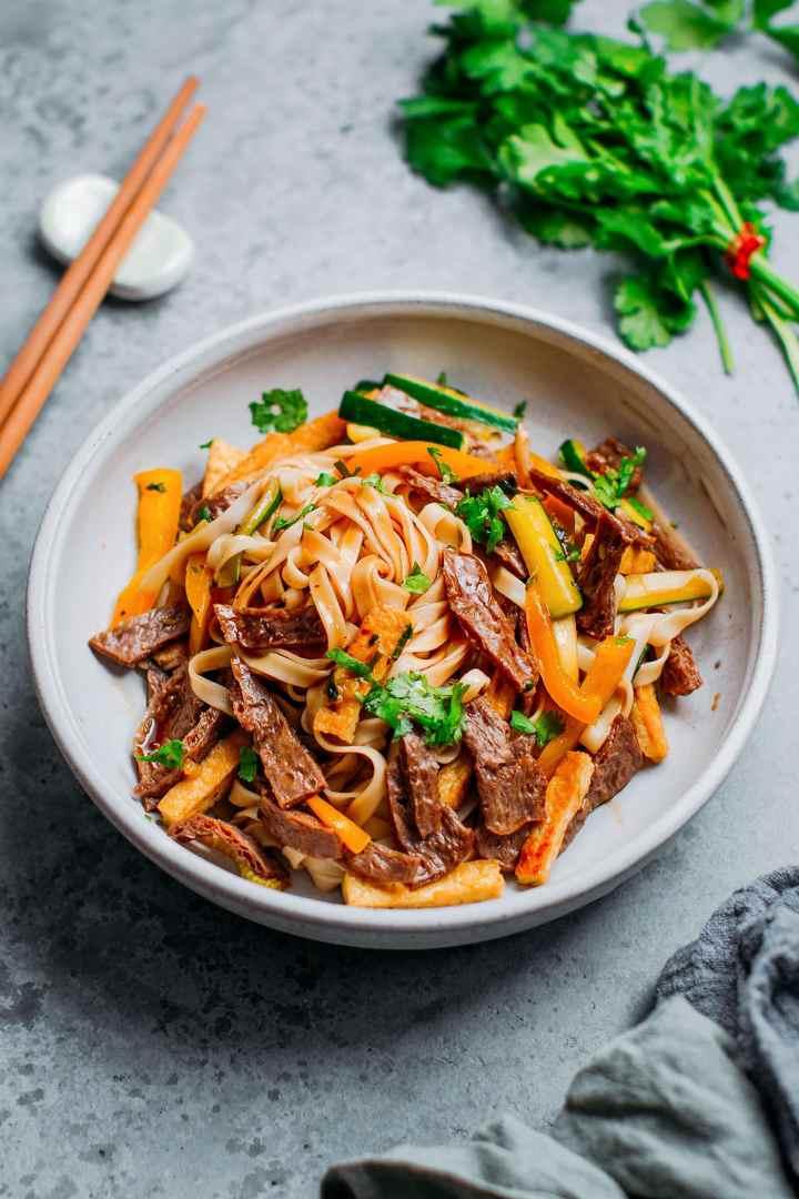 Vegan Char Siu Beef Noodles.