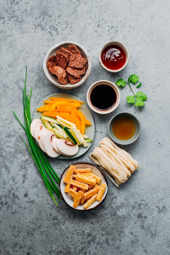 Ingredients to prepare Vegan Char Siu Beef Noodles.