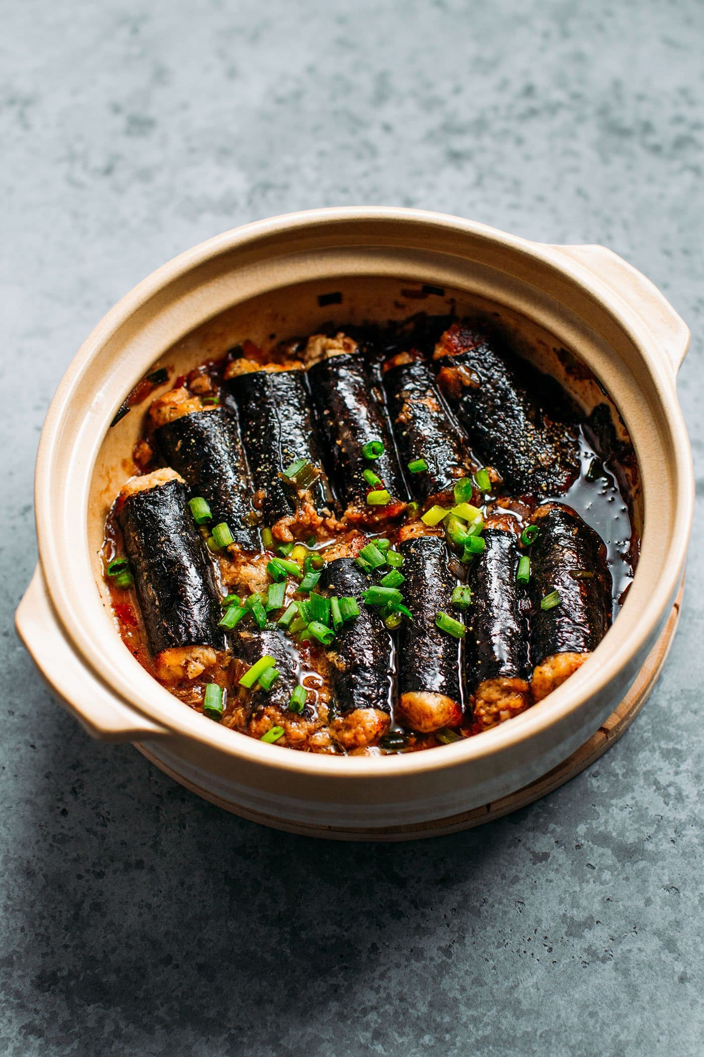 Vegan Braised Fish Rolls in a clay pot.