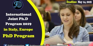 International Joint Ph.D Program 2019 in Italy, Europe