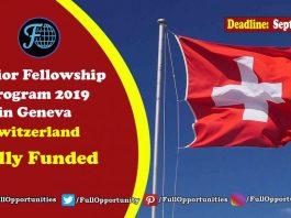 Senior Fellowship Program in Geneva, Switzerland 2019