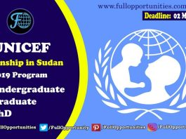 UNICEF Internship in Sudan 2019 program