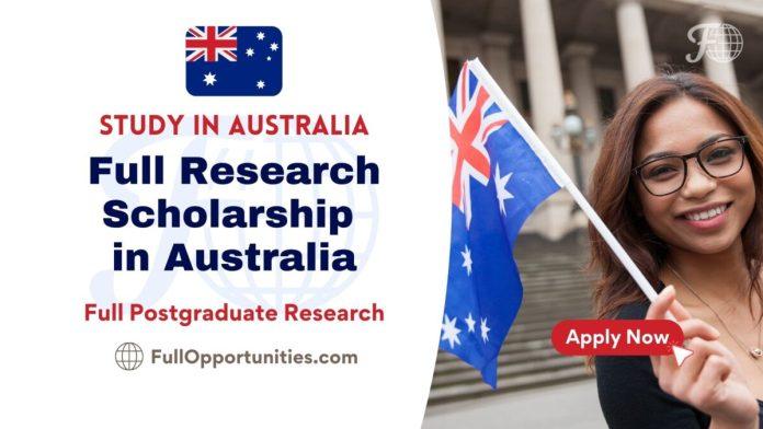 Full Postgraduate Research Scholarship in Australia 2022