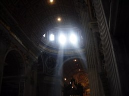 Light streaming into a church in Italy