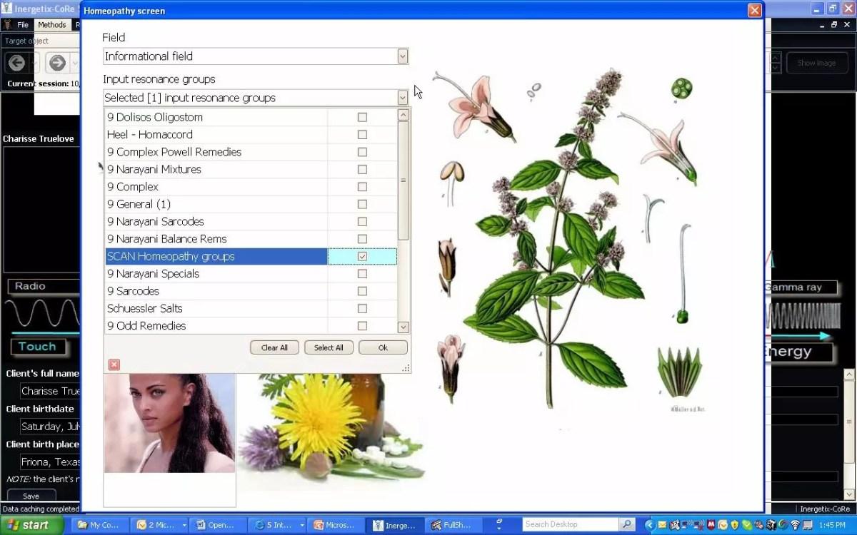 CoRe Informational Medicine Homeopathy Screen