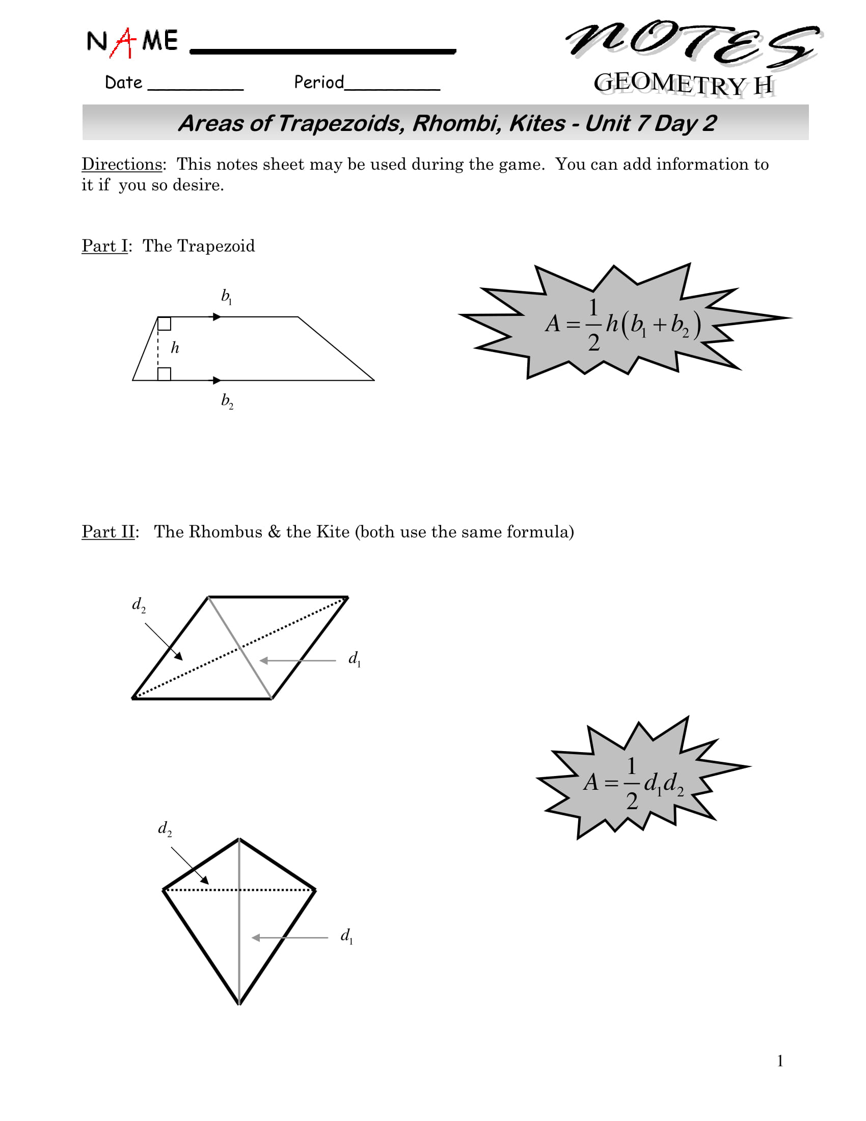Area Of A Kite Worksheet