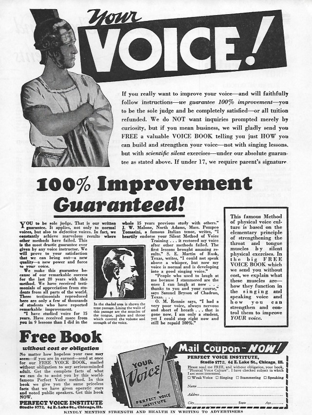 """The facing page for the """"Your Voice!"""" Perfect Voice Institute ad."""