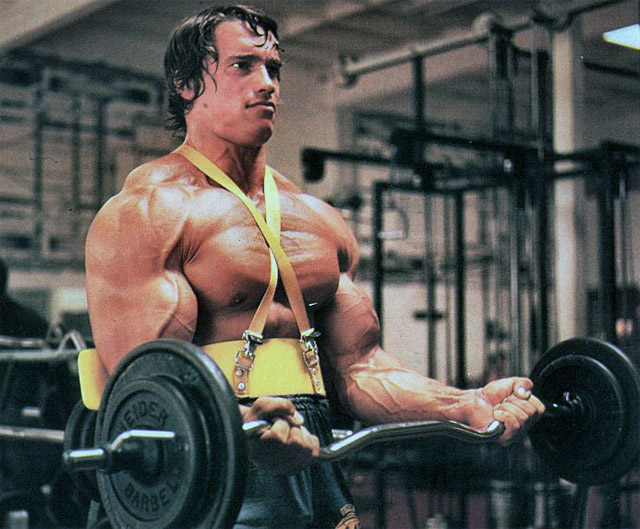 Arnold took some famous shots in his prime using the original arm blaster.