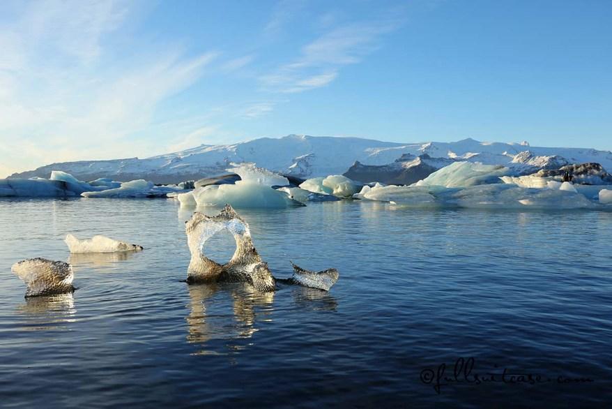 Jokulsarlon glacial lagoon ice formations in winter