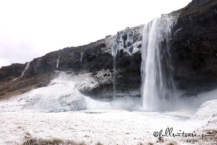 Seljalandsfoss Waterfall Iceland and winter landscape