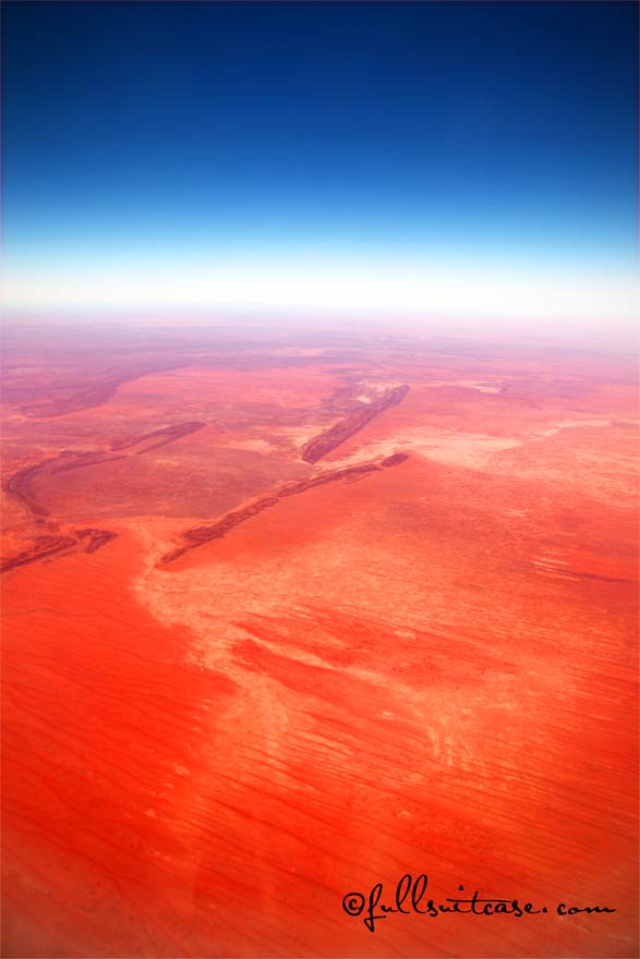 Australian red outback landscape aerial picture