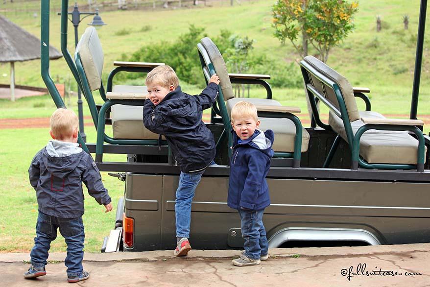 Little kids on safari in Africa