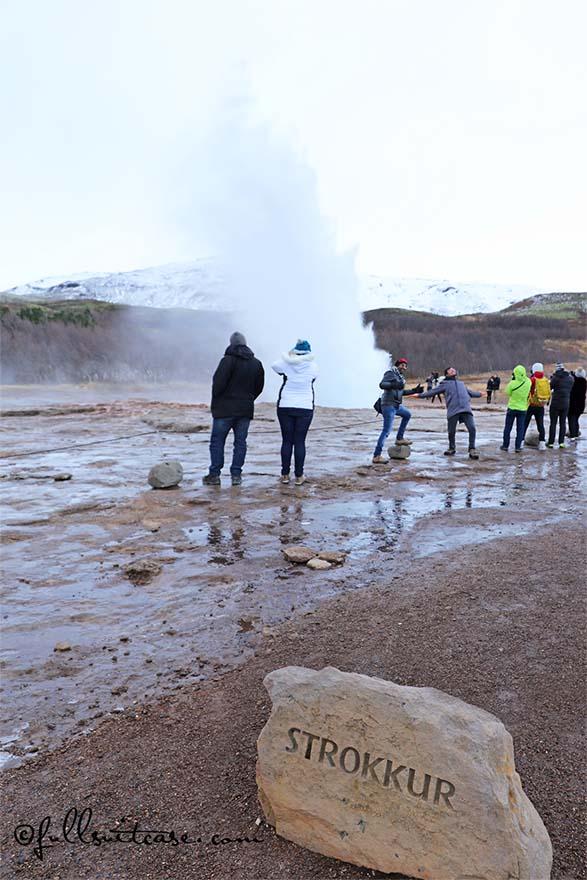 Erupting Strokkur Geyser in Iceland